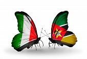Two Butterflies With Flags On Wings As Symbol Of Relations Italy And Mozambique