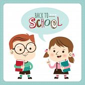 Back to school. Schoolboy and schoolgirl holding book. Vector illustration