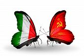Two Butterflies With Flags On Wings As Symbol Of Relations Italy And Soviet Union