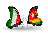 Two Butterflies With Flags On Wings As Symbol Of Relations Italy And Togo