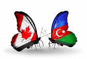 Two Butterflies With Flags On Wings As Symbol Of Relations Canada And Azerbaijan