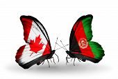 Two Butterflies With Flags On Wings As Symbol Of Relations Canada And Afghanistan