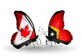 Two Butterflies With Flags On Wings As Symbol Of Relations Canada And  East Timor