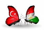 Two Butterflies With Flags On Wings As Symbol Of Relations Turkey And Tajikistan