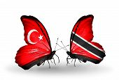 Two Butterflies With Flags On Wings As Symbol Of Relations Turkey And Trinidad And Tobago