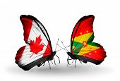 Two Butterflies With Flags On Wings As Symbol Of Relations Canada And Grenada
