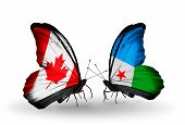 Two Butterflies With Flags On Wings As Symbol Of Relations Canada And Djibouti