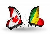 Two Butterflies With Flags On Wings As Symbol Of Relations Canada And Kongo