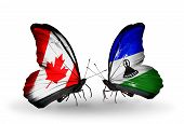 Two Butterflies With Flags On Wings As Symbol Of Relations Canada And Lesotho