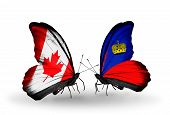 Two Butterflies With Flags On Wings As Symbol Of Relations Canada And Liechtenstein