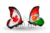 Two Butterflies With Flags On Wings As Symbol Of Relations Canada And Niger
