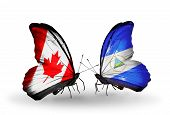 Two Butterflies With Flags On Wings As Symbol Of Relations Canada And Nicaragua