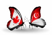 Two Butterflies With Flags On Wings As Symbol Of Relations Canada And Singapore