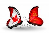 Two Butterflies With Flags On Wings As Symbol Of Relations Canada And Soviet Union