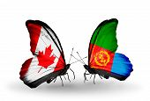 Two Butterflies With Flags On Wings As Symbol Of Relations Canada And Eritrea