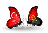 Two Butterflies With Flags On Wings As Symbol Of Relations Turkey And Angola