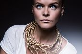 Pretty Woman With Necklace Of Gold Rope