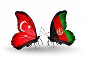 Two Butterflies With Flags On Wings As Symbol Of Relations Turkey And Afghanistan