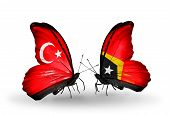 Two Butterflies With Flags On Wings As Symbol Of Relations Turkey And East Timor