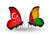 Two Butterflies With Flags On Wings As Symbol Of Relations Turkey And Guinea Bissau