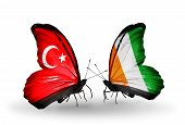 Two Butterflies With Flags On Wings As Symbol Of Relations Turkey And Cote Divoire