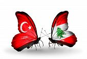 Two Butterflies With Flags On Wings As Symbol Of Relations Turkey And Lebanon