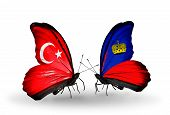 Two Butterflies With Flags On Wings As Symbol Of Relations Turkey And Liechtenstein