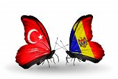 Two Butterflies With Flags On Wings As Symbol Of Relations Turkey And  Moldova