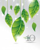 eps10 vector green leaf elements upside down ecology background design