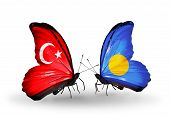 Two Butterflies With Flags On Wings As Symbol Of Relations Turkey And  Palau