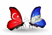 Two Butterflies With Flags On Wings As Symbol Of Relations Turkey And  Nicaragua