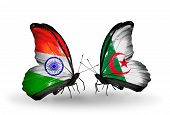 Two Butterflies With Flags On Wings As Symbol Of Relations India And Algeria