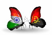 Two Butterflies With Flags On Wings As Symbol Of Relations India And Angola