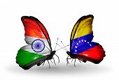 Two Butterflies With Flags On Wings As Symbol Of Relations India And Venezuela
