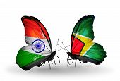 Two Butterflies With Flags On Wings As Symbol Of Relations India And Guyana