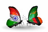 Two Butterflies With Flags On Wings As Symbol Of Relations India And Zambia