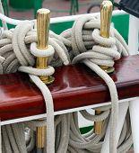 stock photo of historical ship  - Ship rigging on the ship - JPG