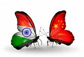 Two Butterflies With Flags On Wings As Symbol Of Relations India And China
