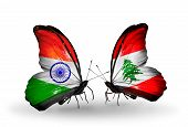 Two Butterflies With Flags On Wings As Symbol Of Relations India And Lebanon
