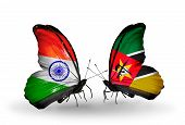 Two Butterflies With Flags On Wings As Symbol Of Relations India And Mozambique
