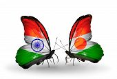 Two Butterflies With Flags On Wings As Symbol Of Relations India And Niger