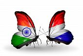 picture of holland flag  - Two butterflies with flags on wings as symbol of relations India and Holland - JPG