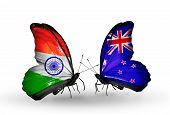 Two Butterflies With Flags On Wings As Symbol Of Relations India And New Zealand