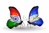 Two Butterflies With Flags On Wings As Symbol Of Relations India And Nicaragua