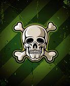 Caveira com os ossos do esqueleto na base militar de grunge