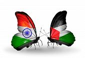 Two Butterflies With Flags On Wings As Symbol Of Relations India And Palestine