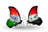 Two Butterflies With Flags On Wings As Symbol Of Relations India And Syria