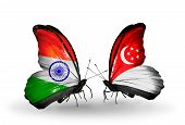 Two Butterflies With Flags On Wings As Symbol Of Relations India And Singapore