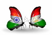 Two Butterflies With Flags On Wings As Symbol Of Relations India And Tajikistan