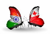 Two Butterflies With Flags On Wings As Symbol Of Relations India And Tonga
